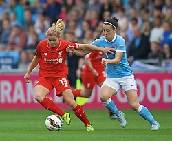 MANCHESTER, ENGLAND - Sunday, August 30, 2015: Liverpool's Rosie White and Manchester City's Jill Scott during the League Cup Group 2 match at the Academy Stadium. (Pic by Paul Currie/Propaganda)