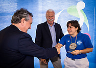 Premiazione Arbitri<br /> Roberto Marotta<br /> Ilaria Ferrari<br /> Final Four  Coppa Italia FIN Femminile pallanuoto 2016-17<br /> Centro Federale di Ostia, Roma, ITA<br /> 1 Aprile 2017<br /> &copy;Giorgio Scala / Deepbluemedia
