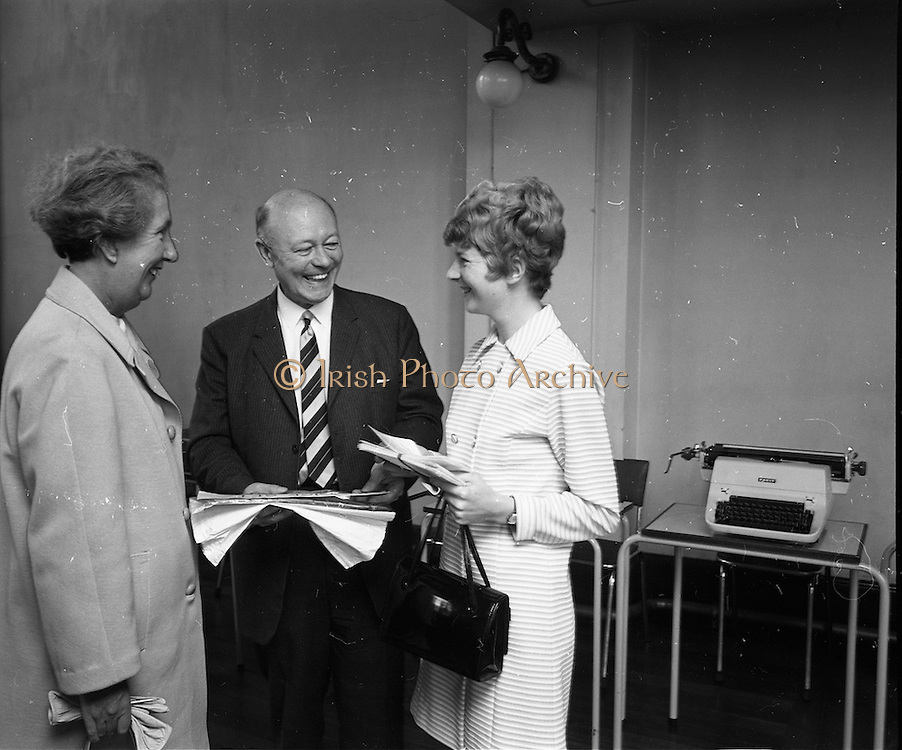 15/07/1970<br /> 07/15/1970<br /> 15 July 1970<br /> Summer School for Commercial Teachers at the Dominican College, Eccles Street, Dublin. The three day SummerSchool organised by the Society of Commercial Teachers, which would provide the teachers with a comprehensive survey of what was newest in the field of commercial education, was attended by delegates from all over the country.  Picture shows (l-r) Miss ? Barry (Passage West, Cork) of Skerries College Cork; Mr. Maurice Watchman, P.S.Dip, F.S.C.T., from London, who was the main lecturer at the course and Miss Nuala Guilly (Middleton) also of Skerries College, chatting during a break in lectures.