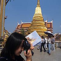 Thailand, Bangkok, Tourists at Wat Phra Kaew Temple near Grand Palace