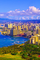 View of the highrises of Waikiki from the Diamond Head Overlook, Honolulu, Oahu, Hawaii, USA