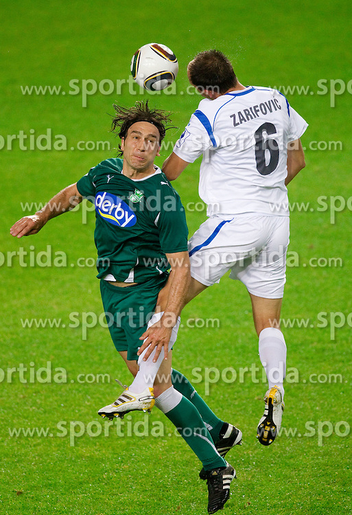 Tomo Sokota of Olimpija  vs Aris Zarifovic of Gorica during the football match between NK Olimpija and HIT Gorica, played in the 11th Round of Prva liga football league 2010 - 2011, on September 25, 2010, SRC Stozice, Ljubljana, Slovenia. (Photo by Vid Ponikvar / Sportida)