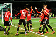United players celebrate after Ander Herrera (21) of Manchester United scores a goal to give a 0-2 lead to the away team during the The FA Cup 4th round match between Yeovil Town and Manchester United at Huish Park, Yeovil, England on 26 January 2018. Photo by Graham Hunt.