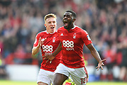 Nottingham Forest midfielder Mustafa Carayol (18) celebrates after scoring a goal to make it 3-0 during the EFL Sky Bet Championship match between Nottingham Forest and Reading at the City Ground, Nottingham, England on 22 April 2017. Photo by Jon Hobley.