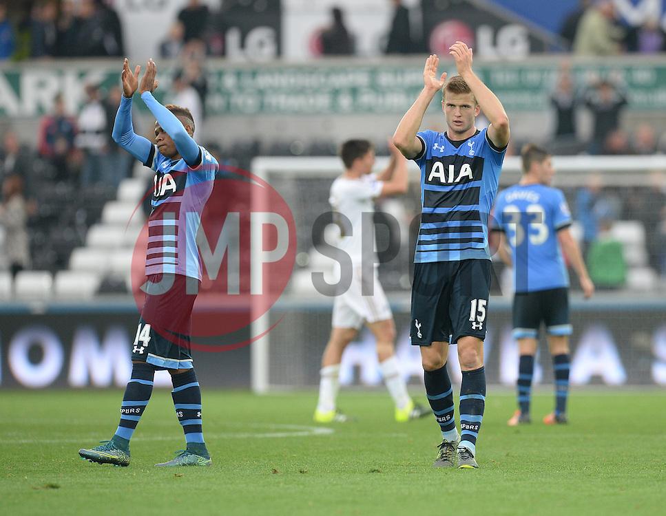 Eric Dier of Tottenham Hotspur claps the away surpport. - Mandatory byline: Alex James/JMP - 07966 386802 - 04/10/2015 - FOOTBALL - Liberty stadium - Swansea, England - Swansea City  v Tottenham hotspur - Barclays Premier League