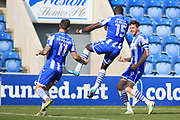 Colchester Utd forward Chris Porter celebrates his goal with Colchester Utd defender George Elokobi during the EFL Sky Bet League 2 match between Colchester United and Stevenage at the Weston Homes Community Stadium, Colchester, England on 8 April 2017. Photo by Nigel Cole.