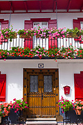 Typical Basque townhouse in town of Oroz Betelu in Navarre, Northern Spain