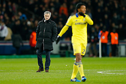 Chelsea Manager Jose Mourinho looks on at Juan Cuadrado after the match ends in a 1-1 draw - Photo mandatory by-line: Rogan Thomson/JMP - 07966 386802 - 17/02/2015 - SPORT - FOOTBALL - Paris, France - Parc des Princes - Paris Saint-Germain v Chelsea - UEFA Champions League, Last 16, First Leg.