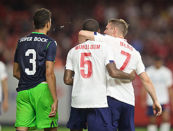 NEW YORK, NEW YORK, USA - Wednesday, July 24, 2019: Liverpool's Georginio Wijnaldum celebrates scoring the second goal with team-mate James Milner (R) during a friendly match between Liverpool FC and Sporting Clube de Portugal at the Yankee Stadium on day nine of the club's pre-season tour of America. (Pic by David Rawcliffe/Propaganda)