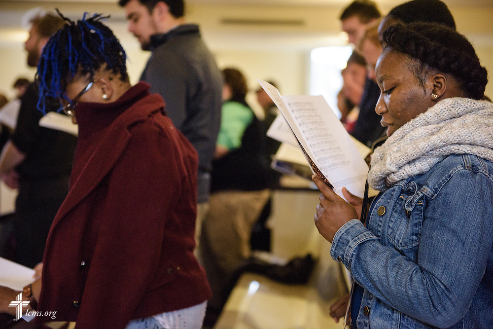 Princess Greah of Baltimore sings during morning prayer at the Liberty National LCMS Campus Ministry Conference on Wednesday, Jan. 4, 2017, at the University of Maryland in College Park, Md. LCMS Communications/Erik M. Lunsford
