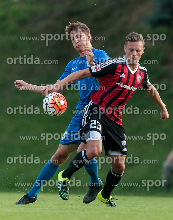 15.07.2015, Waldstadion, Mittersill, AUT, Testspiel, FC Ingolstadt 04 vs FC Zbrojovka Bruenn, im Bild v.l.: Martin Chrien (FC Zbrojovka Bruenn), Robert Bauer (FC Ingolstadt) // during the International Friendly Football Match between FC Ingolstadt and FC Zbrojovka Brno at the Waldstadium, Mittersill, Austria on 2015/07/15. EXPA Pictures © 2015, PhotoCredit: EXPA/ JFK