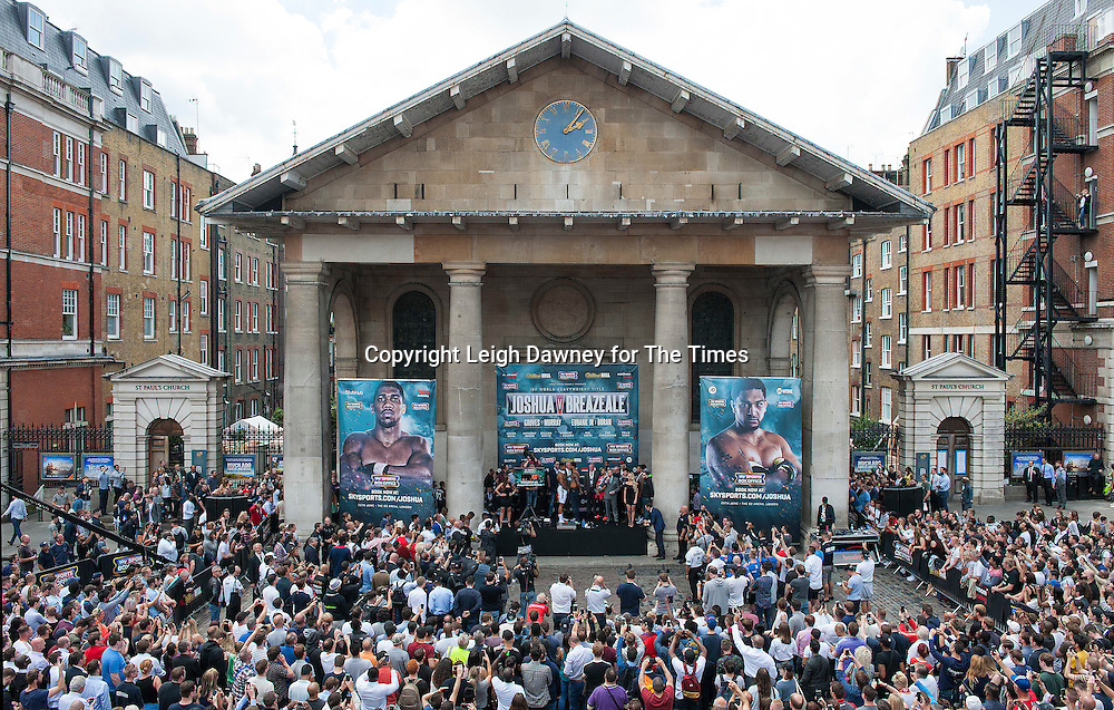 A general view of the Anthony Joshua and Dominic Breazeale weigh in ahead of his fight against Anthony Joshua at the West Piazza, Covent Garden, London on the 24th June 2016. © Leigh Dawney for The Times.