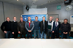 Coaches (from L): Sinisa Brkic, Damjan Romih, Bojan Prasnikar, Darko Milanic, Miran Srebrnic, Ante Simundza, Darko Birjukov,  Milivoj Bracun and Stanko Preradovic during press conference of 1st SNL PrvaLiga, on February 29, 2012 in Koper, Slovenia.  (Photo By Vid Ponikvar / Sportida.com)