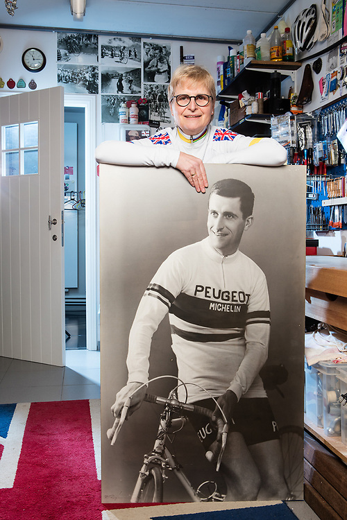 20170215 DESTELBERGEN Belgium Joanna Simpson daugther of the legendary Tom Simpson died during the Tour the France in 1967 on the Mon ventoux. Joanna poses in her garage (nearby GENT) plenty of souvenirs of her father pict FRANK ABBELOOS