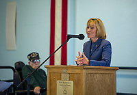 Senator Maggie Hassan speaks to the crowd during the Veterans Day ceremony at the New Hampshire Veterans Home Friday morning.  (Karen Bobotas/for the Laconia Daily Sun)