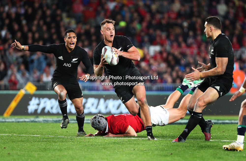 All Black wing Israel Dagg breaks tackles during the 30-15 All Black win in the first test match of the DHL Lions Series 2017 played between the All Blacks and the British and Irish Lions at Eden Park, Auckland on 24th June 2017. <br /> Copyright Photo; Peter Meecham/ www.photosport.nz