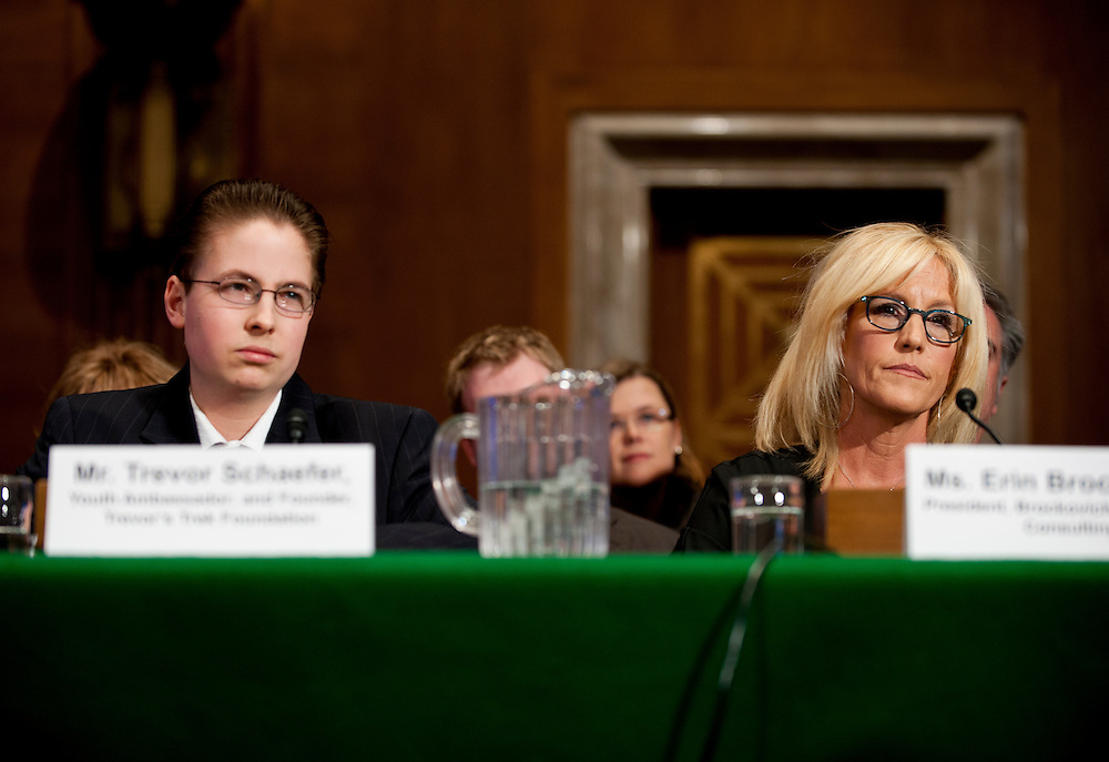 "Trevor Schaefer, youth ambassador and founder of Trevor's Trek Foundation, Erin Brockovich, president of Brockovich Research & Consulting testify during an Environment and Public Works Committee hearing on ""Disease Clusters and Environmental Health."""