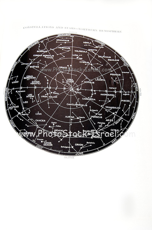 Northern Hemisphere star and constellation sky map