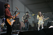 Manchester, TN, June 12, 2005; Jenny Lewis, Blake Sennett, Pierre de Reeder, and Jason Boesel of Rilo Kiley performs during The Bonnaroo 2005 Arts and Music Festival. Mandatory Credit: Photo by Bryan Rinnert