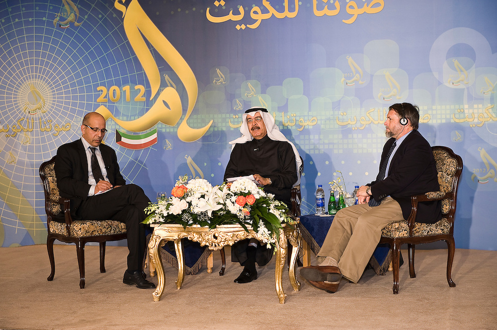 Doug Bandow, a senior fellow from the Cato Institute, and Mamoun Fandy, President of the think tank Fandy & Associates, participate in a democracy work shop hosted by Yousef Abdel-Hamid Al-Jassim.