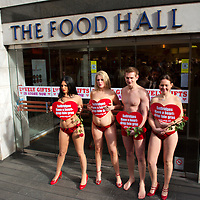 """London Feb 12 London Peta Beauties ask Selfridges ti """"Have a Heart"""" for geese as they continue to sell cruelty produces foie gras..Standard Licence feee's apply  to all image usage.Marco Secchi - Xianpix tel +44 (0) 845 050 6211 .e-mail ms@msecchi.com .http://www.marcosecchi.com"""