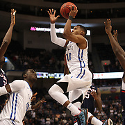 James Woodard, Tulsa, drives to the basket during the UConn Huskies Vs Tulsa Semi Final game at the American Athletic Conference Men's College Basketball Championships 2015 at the XL Center, Hartford, Connecticut, USA. 14th March 2015. Photo Tim Clayton
