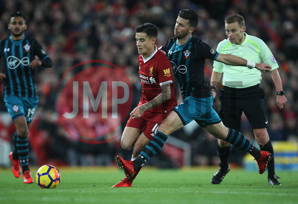 Philippe Coutinho of Liverpool (L) and Shane Long of Southampton in action - Mandatory by-line: Jack Phillips/JMP - 18/11/2017 - FOOTBALL - Anfield - Liverpool, England - Liverpool v Southampton - English Premier League