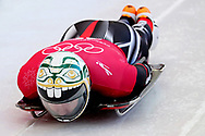 Feb 13, 2018; Pyeongchang, South Korea; Kevin Boyer of Canada in the Men's Skeleton Men's Official Traing during the Pyeongchang 2018 Olympic Winter Games at the Olympic Sliding Center. Mandatory Credit: Peter Casey-USA TODAY Sports