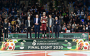 Premiazione MVP, Austin Daye, Egidio Bianchi, Gianmarco Tamberi<br /> Umana Reyer Venezia - Happycasa Brindisi<br /> Finale<br /> LBA Legabasket Serie A Final 8 Coppa Italia 2019-2020<br /> Pesaro, 16/02/2020<br /> Foto L.Canu / Ciamillo-Castoria
