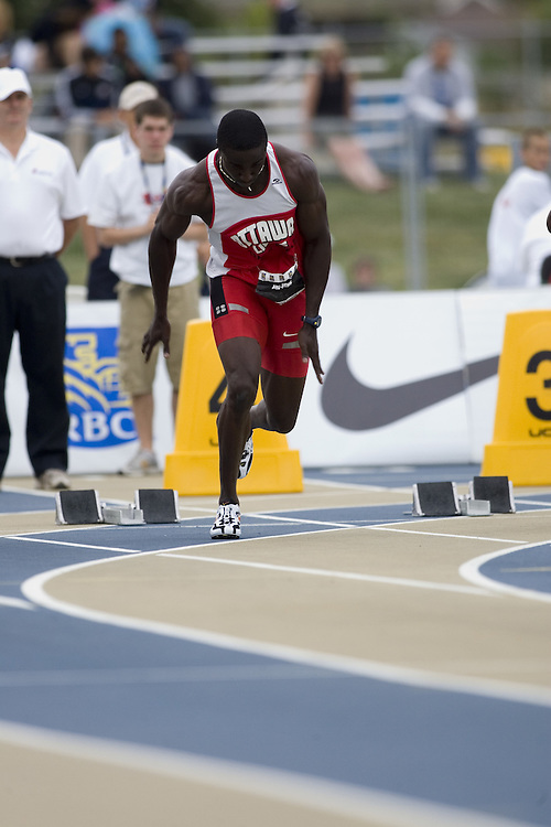 15 July 2007 (Windsor--Canada) --    Richard Adu-Bobie in the 100m semi finals during day three of the 2007 Canadian National Track and Field Championships...
