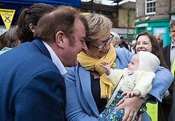 The First Minister, Nicola Sturgeon, campaigning in Leith by campaigning that the SNP will be a voice for young people.<br /> <br /> Pictured: Tommy Sheppard and Joanna Cherry with 11 week old Flora Tompson