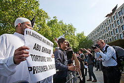 **CAPTION CORRECTION, Incorrect date on original  caption** © London News Pictures. Siddhartha Dhar (2L) at a Muslims Against Crusades demonstration outside the American Embassy in Grosvenor Square on 6/5/2011. There has been speculation that Siddhartha Dhar is this the new 'Jihadi John', who appeared in a recent ISIS video. Photo credit: LNP