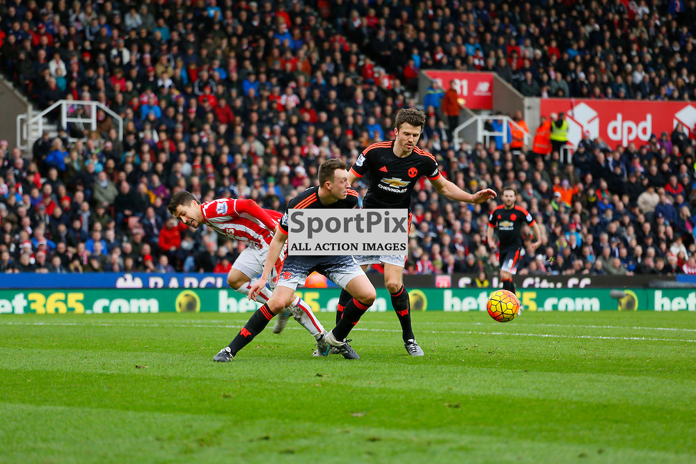 Bojan in the attack gets tackled by Phil Jones during Stoke City v Manchester United, Barclays Premier League, Saturday 26th December 2015, Britannia Stadium, Stoke