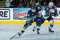 KELOWNA, CANADA - APRIL 30: Nolan Volcan #26 of the Seattle Thunderbirds is checked by Reid Gardiner #23 of the Kelowna Rockets on April 30, 2017 at Prospera Place in Kelowna, British Columbia, Canada.  (Photo by Marissa Baecker/Shoot the Breeze)  *** Local Caption ***