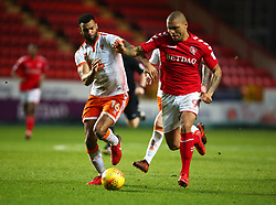 December 23, 2017 - London, United Kingdom - Charlton Athletic's Josh Magennis holds of Blackpool's Curtis Tilt.during Sky Bet  League One match between Charlton Athletic  against Blackpool at The Valley Stadium London on 23 Dec  2017  (Credit Image: © Kieran Galvin/NurPhoto via ZUMA Press)