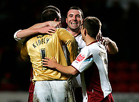 Photo: Tom Dulat/Sportsbeat Images.<br /> <br /> Charlton Athletic v Burnley. Coca Cola Championship. 01/12/2007.<br /> <br /> L to R: Gabor Kiraly, David Unsworth and Jon Harley celebrating won game.