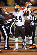 Cleveland Browns running back Ben Tate (44) raises his arms as he celebrates after running for a first quarter touchdown that gives the Browns a 7-0 lead during the NFL week 10 regular season football game against the Cincinnati Bengals on Thursday, Nov. 6, 2014 in Cincinnati. The Browns won the game 24-3. ©Paul Anthony Spinelli