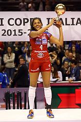 20-03-2016 ITA: Finale Coppa Italia A1 Foppapedretti Bergamo - Nordmeccanica Piacenza, Ravenna<br /> Foppapedretti Bergamo heeft met klinkende cijfers de Italiaanse beker binnengehaald. In Ravenna werd Piacenza met 3-0 verslagen / Celeste Plak #4 MVP<br /> <br /> ***NETHERLANDS ONLY***