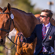 Waylon Roberts (CAN) and Kelecyn Cognac at the second horse inspection at the 2018 Land Rover Kentucky Three-Day Event in Lexington, Kentucky.