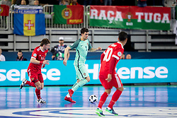 Daniil Davydov of Russia and Andre Coelho of Portugal during futsal semifinal match between National teams of Russia and Portugal at Day 9 of UEFA Futsal EURO 2018, on February 8, 2018 in Arena Stozice, Ljubljana, Slovenia. Photo by Urban Urbanc / Sportida