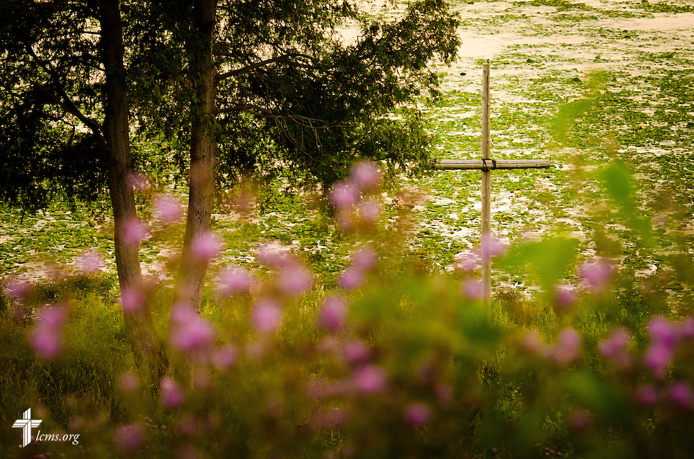 A cross is set against wildflowers and the Huron River during sunset at Concordia University Ann Arbor on Wednesday, July 2, 2014, in Ann Arbor, Mich. LCMS Communications/Erik M. Lunsford
