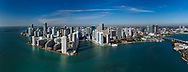 Downtown Miami from the air looking west showing Brickell Key, Miami River and Biscayne Bay