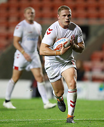 England's George Burgess in action against France, during the International match at Leigh Sports Village. PRESS ASSOCIATION Photo. Picture date: Wednesday October 17, 2018. See PA story RUGBYL England. Photo credit should read: Martin Rickett/PA Wire. RESTRICTIONS: Editorial use only. No commercial use. No false commercial association. No video emulation. No manipulation of images.