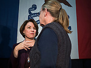 05 DECEMBER 2019 - DES MOINES, IOWA: US Senator AMY KLOBUCHAR (D-MN) talks to a voter after speaking at a speech during a campaign event in Des Moines. Sen. Klobuchar is campaigning to be the Democratic nominee for the US Presidency. Iowa holds the first selection event of the Presidential election cycle. The Iowa caucuses are Feb. 3, 2020.            PHOTO BY JACK KURTZ