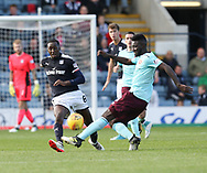 30th September 2017, Dens Park, Dundee, Scotland; Scottish Premier League football, Dundee versus Hearts; Dundee's Glen Kamara and Hearts' Prince Buaben battle for the ball