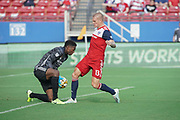 FC Dallas forward Zdenek Ondrasek (13) takes a shot on goal against NYCFC goalkeeper Sean Johnson (1) in a MLS soccer game, Sunday, Sept. 22, 2019, in Frisco, Tex. FC Dallas and New York FC draw 1-1 (Wayne Gooden/Image of Sport)