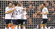 Tottenham players celebrate Roberto Soldado goal during the Capital One Cup match between Tottenham Hotspur and Newcastle United at White Hart Lane, London, England on 17 December 2014. Photo by Phil Duncan.
