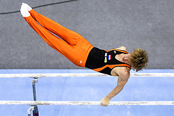 Epke Zonderland of Netherlands competes in the Parallel Bars during Final day 2 of Artistic Gymnastics World Challenge Cup Ljubljana, on April 20, 2014 in Hala Tivoli, Ljubljana, Slovenia. (Photo by Matic Klansek Velej / Sportida.com)