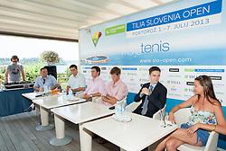 Gregor Krusic, Denis Topcic, Blaz Rola, Borut Fakin and Katja Kranjc during press conference of ATP Challenger Tilia Slovenia Open 2013, on June 20, 2013 in Hotel Metropol, Portoroz, Slovenia. (Photo By Vid Ponikvar / Sportida)
