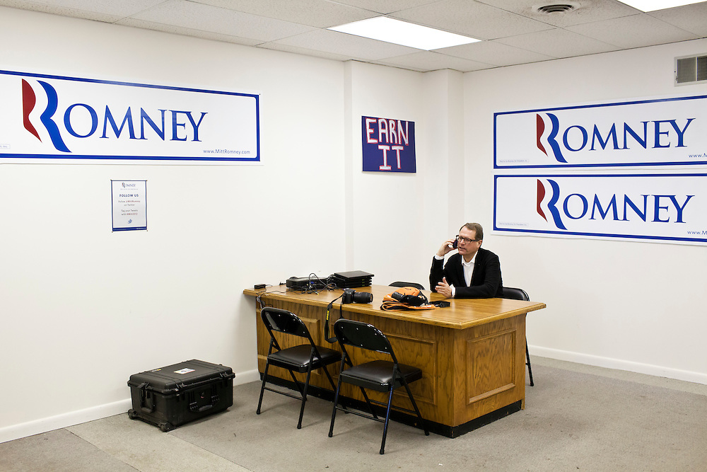 Maus Vanderpoel, a lobbyist from the Netherlands who is in the U.S. to learn about American-style campaigning, makes a phone call at the New Hampshire campaign headquarters of Republican presidential candidate Mitt Romney on Monday, January 9, 2012 in Manchester, NH. Brendan Hoffman for the New York Times